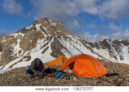 Camping in high mountains in Altay, Russia