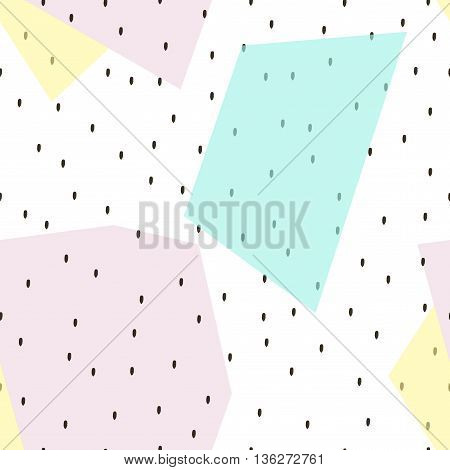 Modern abstract background with geometric seamless pattern. Brush strokes. Stylish trendy fabric.