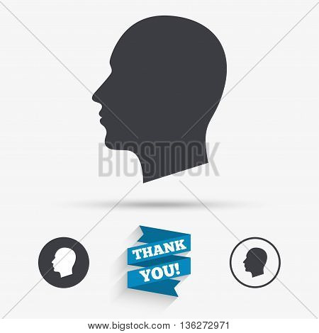 Head sign icon. Male human head symbol. Flat icons. Buttons with icons. Thank you ribbon. Vector