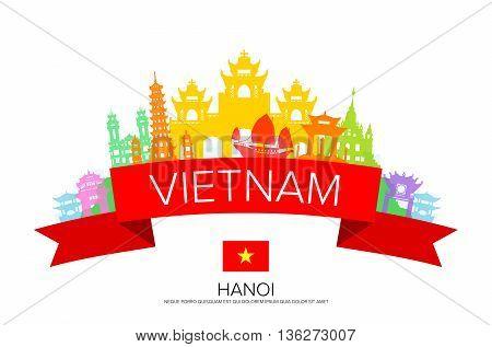Vietnam Travel hanoi Travel Landmarks. Vector and Illustration