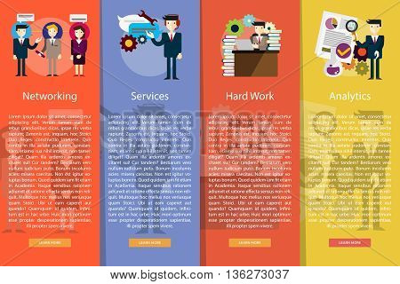 Business People Vertical Banner Concept | Set of great vertical banner flat design illustration concepts for business, people, marketing, working, idea, event and much more.