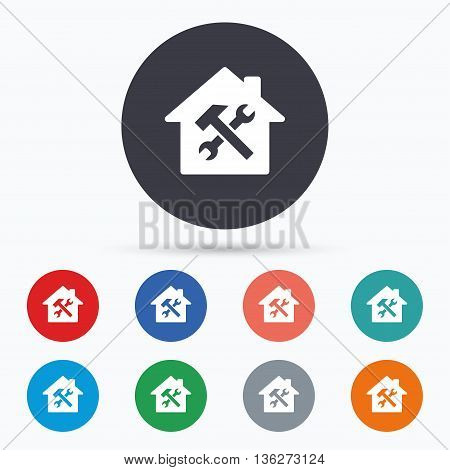 Service house. Repair tool icon. Service symbol. Flat house service icon. Simple design house service symbol. House service graphic element. Circle buttons with house service icon. Vector