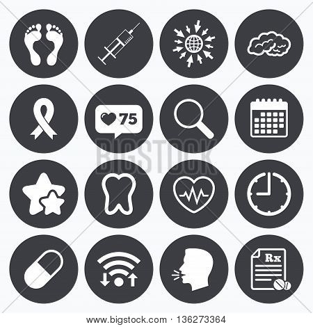 Calendar, wifi and clock symbols. Like counter, stars symbols. Medicine, medical health and diagnosis icons. Syringe injection, heartbeat and pills signs. Tooth, neurology symbols. Talking head, go to web symbols. Vector
