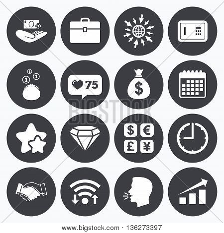 Calendar, wifi and clock symbols. Like counter, stars symbols. Money, cash and finance icons. Handshake, safe and currency exchange signs. Chart, case and jewelry symbols. Talking head, go to web symbols. Vector