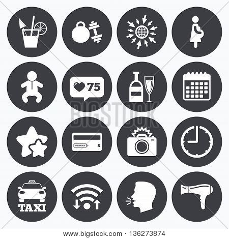 Calendar, wifi and clock symbols. Like counter, stars symbols. Hotel, apartment service icons. Fitness gym. Alcohol cocktail, taxi and hairdryer symbols. Talking head, go to web symbols. Vector