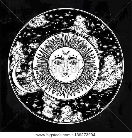 Hand drawn romantic beautiful round drawing of a night sky with sun and moon inside. Vector illustration isolated. Ethnic design, mystic tribal boho symbol for your use.