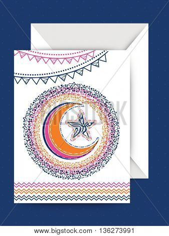 Elegant Greeting Card design with Envelope, Illustration of beautiful Crescent Moon and Star with Arabic Islamic Calligraphy of text Eid Mubarak on buntings decorated background.