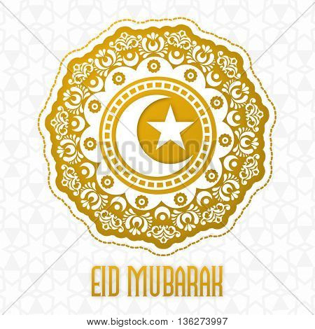 Traditional floral design decorated, Greeting Card, Beautiful ornamental Islamic Background with Crescent Moon and Star, for Muslim Community Holy Festival, Eid Mubarak celebration.