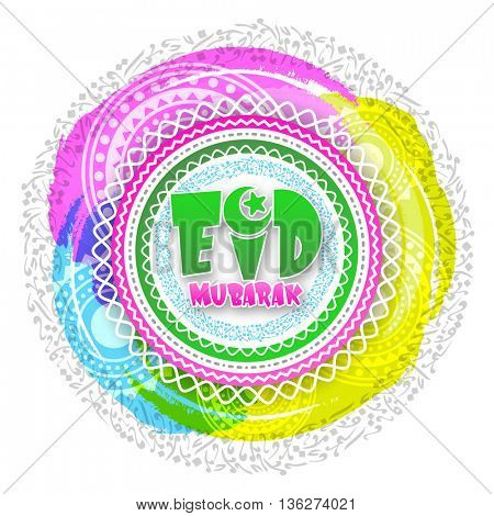 Eid Mubarak Greeting Card design, Stylish Text Eid Mubarak on creative colourful abstract background with arabic alphabets, Beautiful vector illustration for Muslim Community Festivals celebration.