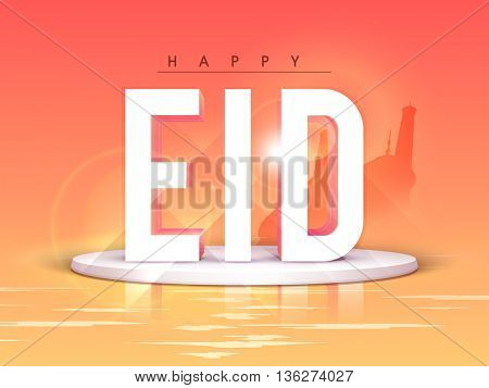 Creative 3D Text Eid on Mosque silhouetted glossy abstract background, Beautiful Greeting Card design for Muslim Community Festival celebration.