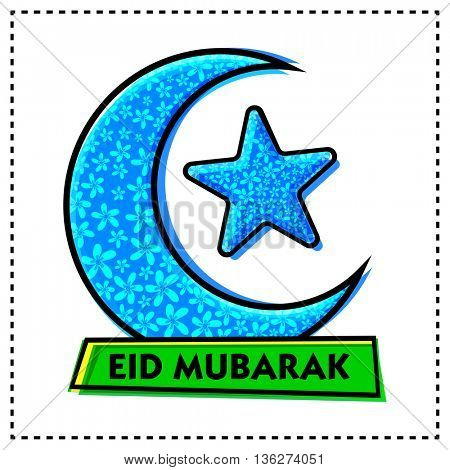 Beautiful Blue Crescent Moon and Star with flowers decoration on white background, Eid Mubarak Greeting Card design, Creative Poster or Banner for Islamic Holy Festivals celebration.