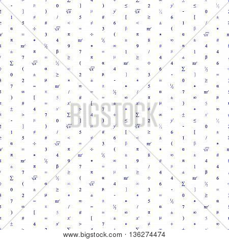 Vector Seamless Geometric Background. Mathematical Pattern Of Blue Numbers, Symbols And Figures.