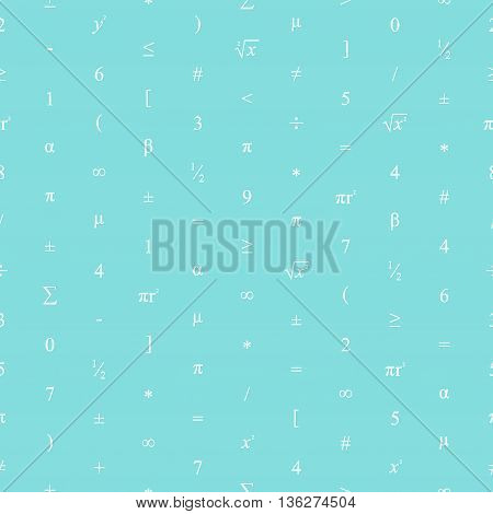 Vector Seamless Geometric Blue Background. Mathematical Pattern Of Numbers, Symbols And Figures