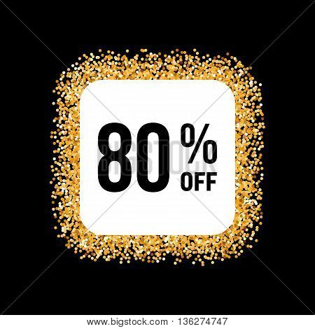 Golden Frame on Black Background with Discount Eighty Percent