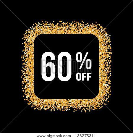 Golden Frame on Black Background with Text Sixty Percent Off