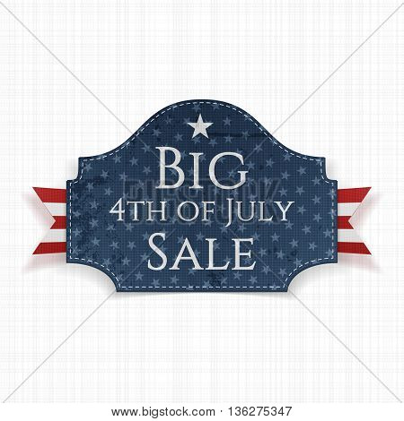 Big 4th of July Sale Label with Ribbon. Vector Illustration