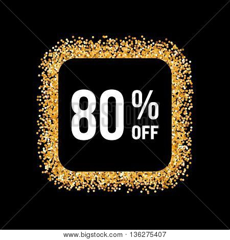 Golden Frame on Black Background with Text Eighty Percent Off