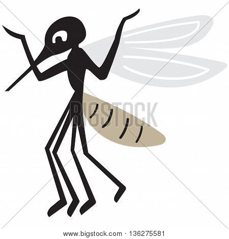 Silhouette of arrogant mosquito on a white background