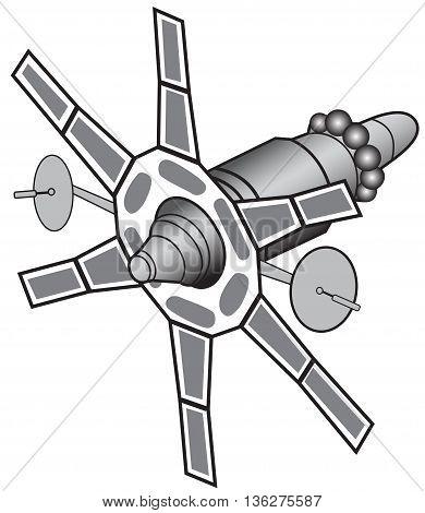 Illustration of communications satellites on a white background