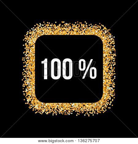 Golden Frame with One Hundred Percent Text on Black Background