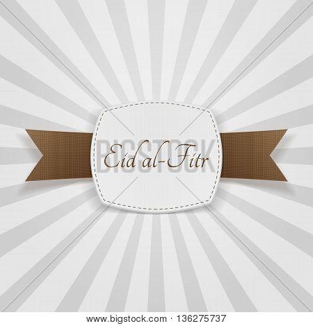 Eid al-Fitr realistic greeting Badge. Vector Illustration