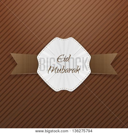 Eid Mubarak greeting paper Emblem. Vector Illustration