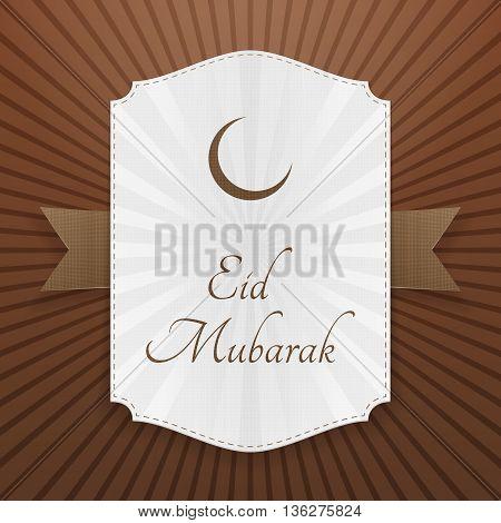 Eid Mubarak realistic festive Tag. Vector Illustration