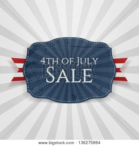 4th of July Sale Holiday Badge. Vector Illustration