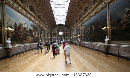 VERSAILLES, FRANCE - JUNE 8, 2013:Art Gallery of the Palace of Versailles
