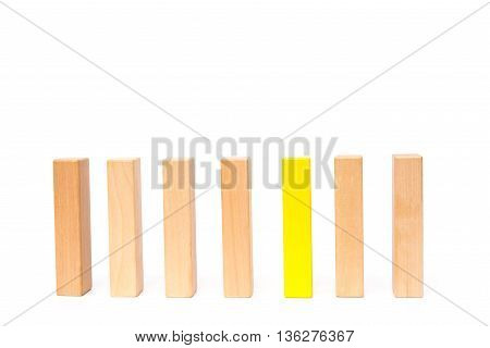 a line of wooden toy blocks on white background
