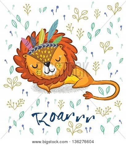 Cartoon character sleeping lion. Vector illustration. Funny cartoon lion vector print with text - Roarrr. Character jungle wild lion with tribal feathers
