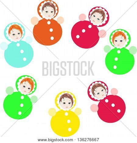 Bright colorful roly-poly toys isolated on white background. Childish vector illustration.