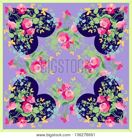 Spring fashion design. Bandana print with floral hearts. Silk neck scarf for Valentines day. Kerchief square pattern design style for print on fabric. Vector illustration.
