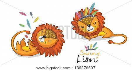 Cartoon lion action set, king of the jungle. With playful lion, sleeping lion vector illustration.