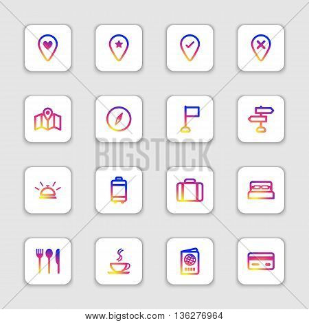 colorful smooth gradient line travel icon set on white rounded rectangle with soft shadow for web design user interface (UI) infographic and mobile application