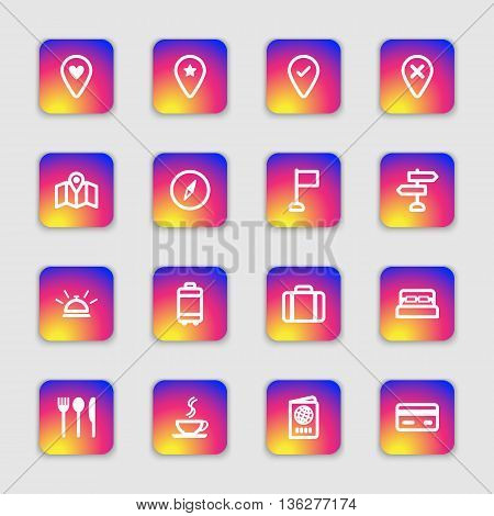 white line travel icon set on colorful smooth gradient rounded rectangle with soft shadow for web design user interface (UI) infographic and mobile application