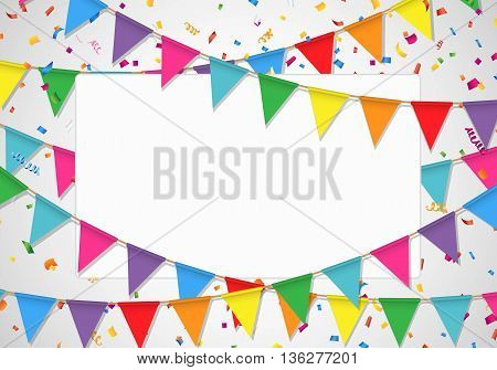 Party background with white board. Party flag, confetti, and white background.