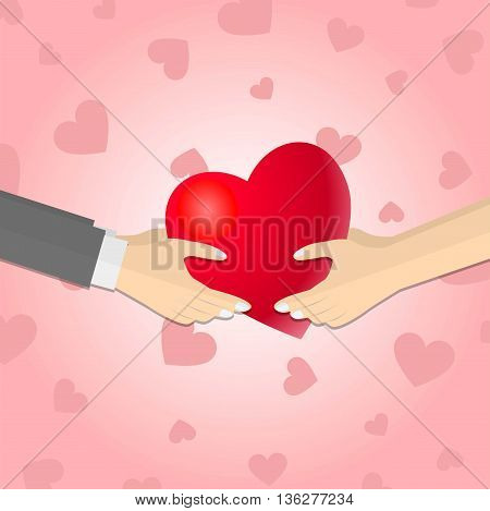 Hands giving a red heart on red hearts background