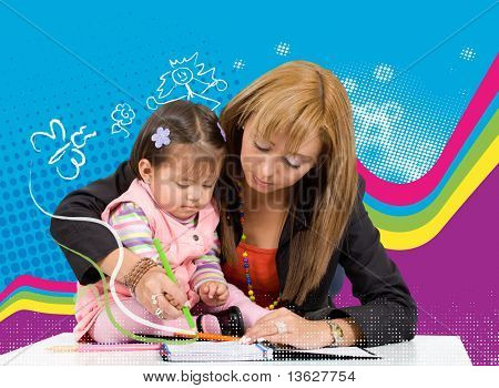mother teaching her little girl to draw with some colours