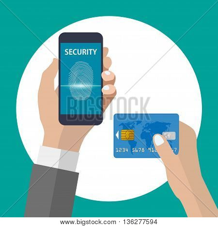 Shopping with smartphone and credit card using fingerprint identification