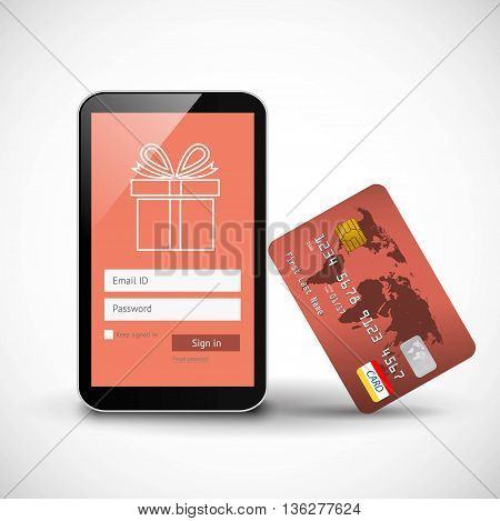 Online shopping smartphone with credit card on white background