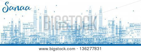Outline Sanaa (Yemen) Skyline with Blue Buildings. Business Travel and Tourism Concept with Historic Buildings. Image for Presentation Banner, Placard and Web Site.