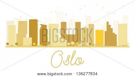 Oslo City skyline golden silhouette. Simple flat concept for tourism presentation, banner, placard or web site. Cityscape with famous landmarks