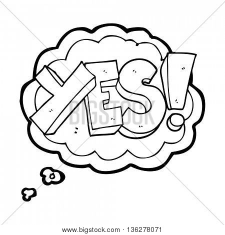 freehand drawn thought bubble cartoon yes symbol