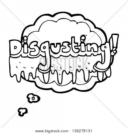freehand drawn thought bubble cartoon disgusting symbol