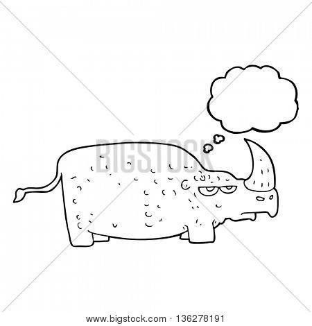 freehand drawn thought bubble cartoon rhino