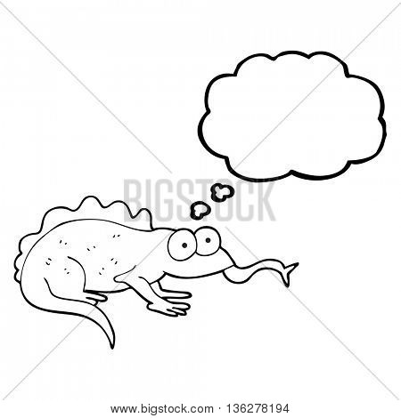 freehand drawn thought bubble cartoon lizard