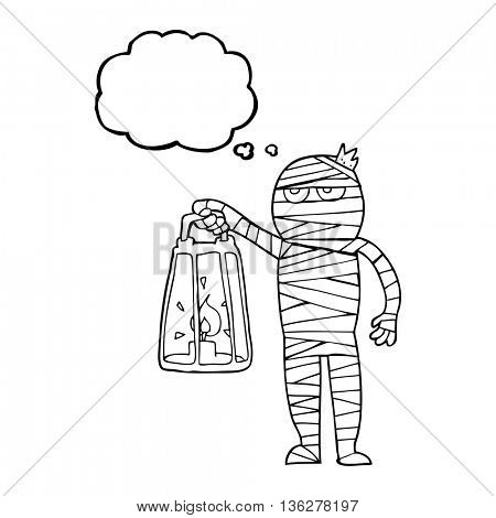 freehand drawn thought bubble cartoon mummy
