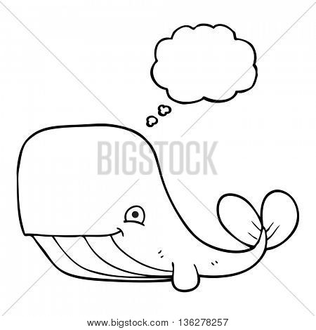 freehand drawn thought bubble cartoon happy whale