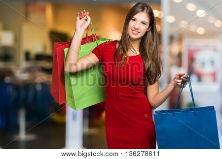 Beautiful woman shopping in a mall